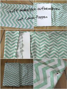 Stoffe systematisch aufbewahren - Stoff auf Pappe aufziehen