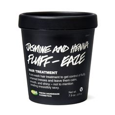Jasmine and Henna Fluff-Ease Lush Hair Treatment | A pre-wash treatment filled with strengthening and conditioning ingredients to put you back in control of your hair. Olive, hemp and soya oils help to strengthen the hair, helping to reduce breakage when combing, while brazil nut oil adds moisture, weight and shine to the hair. Henna infusion has been added as henna is conditioning and coats the hair with a fine film, adding body and shine.
