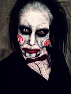 Billy the Puppet from SAW makeup. Artist: Jacquie Lantern www.jacquielantern.com Tags: #halloweenmakeup #saw #JIGSAW #makeupartist #halloween2017 Halloween Fancy Dress, Halloween 2017, Halloween Make Up, Halloween Face Makeup, Halloween Costumes, Saw Makeup, Saw Puppet, Billy The Puppet, Clown Faces