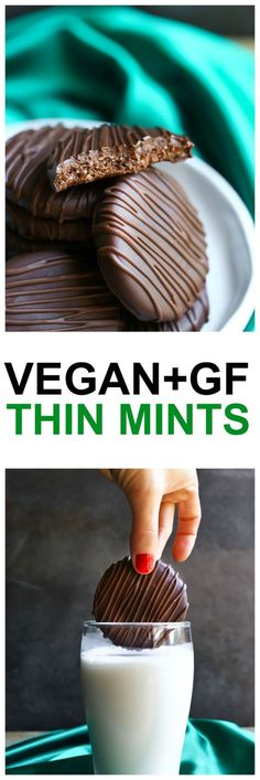 Vegan Thin Mints just like the Girl Scout cookies, but are vegan, gluten-free, dairy-free and with no added oils or butters, yet taste just like the traditional! So unbelievably delicious and yet, so much healthier than store-bought! Made with only 8 ingredients! via @thevegan8