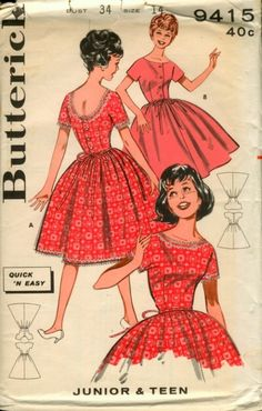 9b671b8efdc Butterick 9415 Quick Easy Teen Dress Pattern Full Skirt Button Front or  Back Bateau Neck Womens Vintage Sewing Pattern Size 12 Bust 32