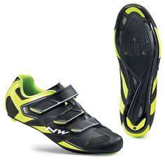 Northwave Sonic 2 Road Shoes - Black-Yellow Fluo Bike Shoes, Cycling Shoes, Performance Cycle, Black N Yellow, Black Shoes, Bicycle, Sneakers, Fashion, Black Loafers