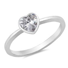 Cute Petite Solitaire Heart Promise Ring Heart Clear White CZ Solid 925 Sterling Silver Heart Ring Dainty Wedding Engagement Ring