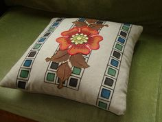 """Arts & Crafts  pillows and textiles - 16""""x16""""  - Wild Rose - Sonata Rosette - Rookwood Rosette -  Mission Rose"""