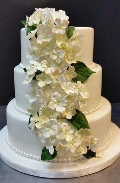 Hydrangeas on a Wedding Cake |