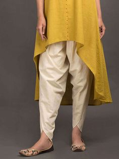 Best 12 Off White Khadi Dhoti Pants Salwar Designs, Kurta Designs Women, Kurti Designs Party Wear, Blouse Designs, Salwar Pants, Salwar Dress, Pakistani Fashion Casual, Pakistani Dresses Casual, Indian Fashion