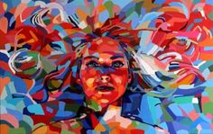 Acrylic painting on stretched canvas. Face of a woman floating in sea of vibrant…