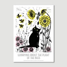 worrying about the plight of the bees, Jo Cox, Tom Cox, My Sad Cat, Graffeg, Poster
