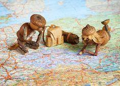 Carte Postale Elfs de gland prévoyant un certain voyage Acorn Crafts, Pine Cone Crafts, Wood Crafts, Diy And Crafts, Crafts For Kids, Arts And Crafts, Paper Crafts, Fairy Village, Deco Nature