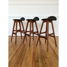 Set of three Vintage Original Danish Teak and Rosewood Counter Bar Stools by Erik Buch in new leather