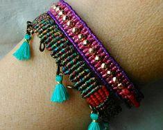 Macrame beaded bracelet boho set jewelry summer gift jewelry design tassels bracelet fun jewelry