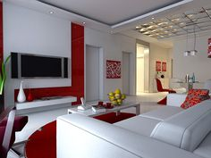 Futuristic white living room with red accents and white marble flooring - living room decor | living room design | living room ideas | http://toolfanatic.com
