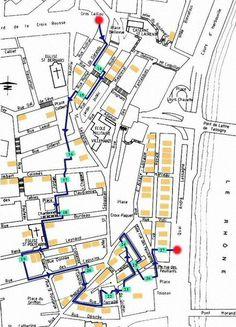 Plan du parcours des Traboules Croix Rousse Est Lyon France, Ville France, Guignol Lyon, Week End Lyon, Journey Tour, Destination Voyage, City Break, Paris, City Art