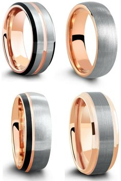 I love the look of the black and rose gold tungsten wedding rings. I finally found a unique ring for him! Wedding Ring For Him, Wedding Rings Simple, Beautiful Wedding Rings, White Gold Wedding Rings, Wedding Rings Vintage, White Gold Rings, Wedding Ring Bands, Bridal Rings, Dream Wedding
