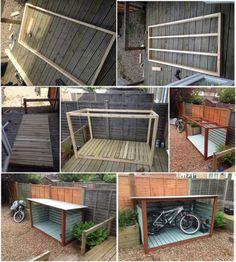 DIY Bike Shed #shedplans Diy Shed Plans, Storage Shed Plans, Bike Storage Shed Diy, Bicycle Storage, Garage Plans, Wooden Playhouse Kits, Garage Velo, Outdoor Bike Storage, Backyard Storage