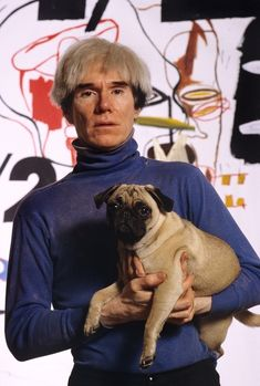 Andy Warhol with Pug, maybe it was his muse?!?