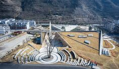 Image 1 of 28 from gallery of Earthquake Memorial Hall and Relics Park in Longtou mountain Town / HUAXIA Architects Studio. Photograph by Xiu Huo Memorial Architecture, Landscape Architecture Design, Architecture Graphics, Concept Architecture, Beautiful Architecture, Modern Architecture, Tourist Center, Park Landscape, Memorial Park