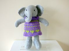Hand Knitted Elephant Wearing Purple Dress, Knitted Animal, Cotton Knit Elephant, Plushie Elephant, Handmade Grey Elephant, Stuffed Elephant by TabbyCatCraftsShop on Etsy