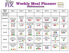 Meal Plan w/ Recipes - Hammer & Chisel, 21 Day Fix - Count Containers not Calories!