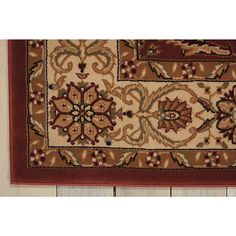 Nourison Persian Crown Brick Area Rug x Red Plastic Carpet Runner, Traditional Area Rugs, Arabesque, Persian, Brick, Floral Design, Decorative Boxes, Crown, Red