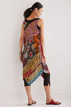 Patched Draped Pocket Dress by Mieko Mintz: Cotton Kantha Dress available at www.artfulhome.com
