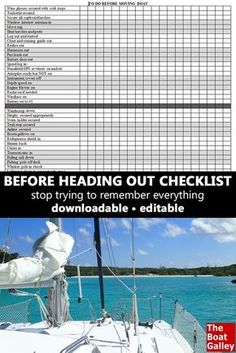 Get an editable boating checklist of necessary tasks before getting underway in your boat. Don't risk running out of fuel or lockers flying open! Sailboat Living, Living On A Boat, Make A Boat, Build Your Own Boat, Liveaboard Sailboat, Liveaboard Boats, Boating Tips, Boat Kits, Boat Stuff
