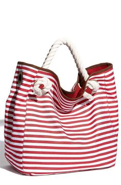 Perfect for a day trip in Maine!  Street Level Nautical Stripe Canvas Tote | Nordstrom