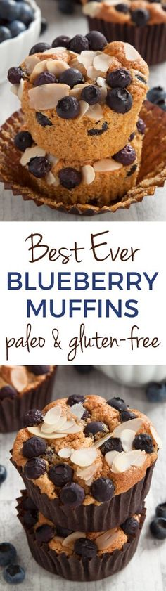 Best Paleo Blueberry Muffins Ever – their angel food-like texture and almond flavor make them totally irresistible! Gluten-free, grain-free, dairy-free.