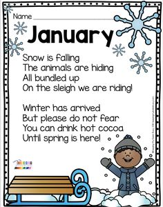 Kindergarten Poetry- JANUARY Poetry – kindergarten and first grade reading and writing prompts – monthly poetry for fall – winter – spring and summer Kindergarten Poetry, Teaching Poetry, Writing Poetry, Writing Prompts, Kindergarten Centers, Kindergarten Crafts, Preschool Songs, Preschool Classroom, Preschool Winter