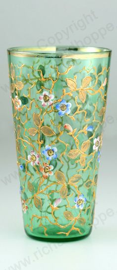 ANTIQUE GLASS: DRINK SETS, DECANTERS, GLASSES & RELATED BARWARE. c.1900-1920 GREEN MOSER FLORAL ENAMELLED & GILT JUICE WATER GLASS. To visit my website click here: http://www.richardhoppe.co.uk or for help or information email us here: info@richardhoppe.co.uk
