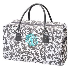 Grey Floral Weekender Bag Personalized/Monogrammed by shopperssky, $36.49
