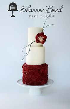 Modern Buttercream Rosette Cake  Modern Buttercream Rosette Cake All buttercream with a gumpaste open rose and branches to give it a modern feel.  #branch #twigs #fall #cakecentral