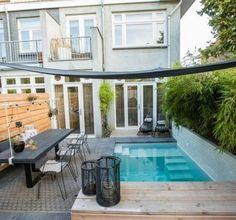 Pool Shade, Patio Shade, Small Backyard Pools, Small Pools, Pool City, Kleiner Pool Design, Small Pool Design, Cool Swimming Pools, Plunge Pool