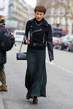 Black Shearling Moto Jacket | Street Fashion | Street Peeper | Global Street Fashion and Street Style