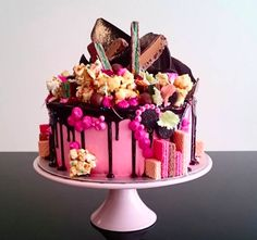 Rose Pink Hero Cake with Chokito Bars and Peppermint Crisps. I had never seen a Chokito Bar before this day. Firsts. Pretty Cakes, Cute Cakes, Beautiful Cakes, Amazing Cakes, Crazy Cakes, Fancy Cakes, Köstliche Desserts, Delicious Desserts, Bolo Cake