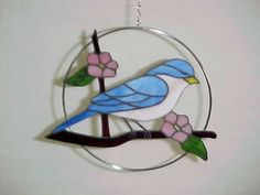 Stained glass Bluebird in ring [bluebirdinring] - $65.00 : Glass Moose Cart, handcrafted glass, beads/supplies, jewelry, wood & metal art, signs