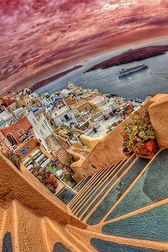 Caldera view in Fira, Santorini.