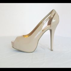 "Material Girl patent leather beige peep toe shoes Material Girl patent leather beige peep toe shoes. New in the box. 5"" heels Material Girl Shoes Platforms"