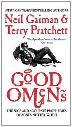 Good Omens: The Nice and Accurate Prophecies of Agnes Nutter, Witch by Neil Gaiman, http://www.amazon.co.uk/dp/0060853980/ref=cm_sw_r_pi_dp_Jg10rb064GJKX