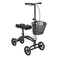 The Dual Pad Steerable Knee Walker with Basket from Drive is a simple, comfortable, durable, and pain-free crutch alternative. Unlike other knee walkers that offer only forward-facing front wheels, Drive's Steerable Knee Walker features a fully maneuverab