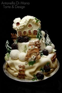 Really cute winter cake Pretty Cakes, Cute Cakes, Beautiful Cakes, Amazing Cakes, Holiday Cakes, Christmas Desserts, Christmas Cakes, Christmas Decorations, Winter Torte