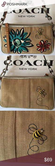 COACH FLOWER & BEE BAG 100 % AUTHENTIC COACH FLOWER AND BEE  BAG 100% AUTHENTIC. SO STUNNING AND ALWAYS FASHIONABLE. THE PERFECT BAG FOR ANY OCCASION. IN WONDERFUL AND AMAZING CONDITION AS YOU CAN SEE FROM THE PICTURE. A JEWEL OF A BAG. THIS BAG MEASURES 9 INCHES WIDE AND 6 INCHES TALL. THE STRAP HAS A 7 INCH DROP Coach Bags