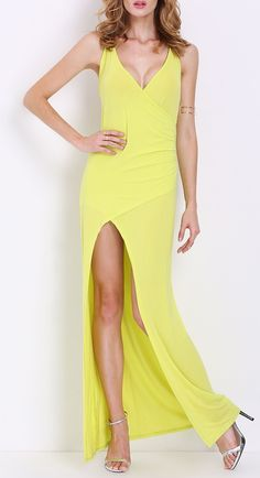 8f0738387b Let your dress shine with this yellow spaghetti strap backless maxi dress  Wedding Evening Gown