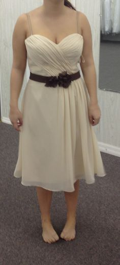 Brides maid dress!!! In coral with a tan belt ❤