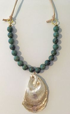 Hand painted oyster shell and glass bead necklace by ByTheShell