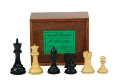 Jaques Ebonized Fischer Spassky Chessmen - Commemorate the chess match that had the whole world watching with the Jaques Ebonized Fischer Spassky Chess Set . These boxwood and ebony pieces complete. Chess Books, Chess Set Unique, Indoor Games, Chess Pieces, World Cultures, Wooden Boxes, Knight, Hand Carved, Carving