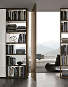 Home Library - Living Room - Entryway Ideas - Pivot Doors - Modern Design Interior Architecture, Interior And Exterior, Modern Interior, Interior Doors, Interior Designing, Minimalist Interior, Interior Balcony, Masculine Interior, Creative Architecture