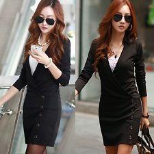 Surplice cuello en pico de imitación de botones para mujer de trabajo de oficina formal Lápiz Camisa Vestido Mini