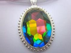 Vintage Style Swarovski Crystal Necklace- 40mm Vitrial Pendant On Silver Organza Ribbon | Luulla