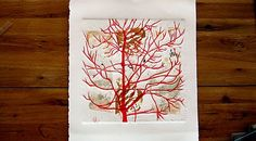 lino cut tree on etching